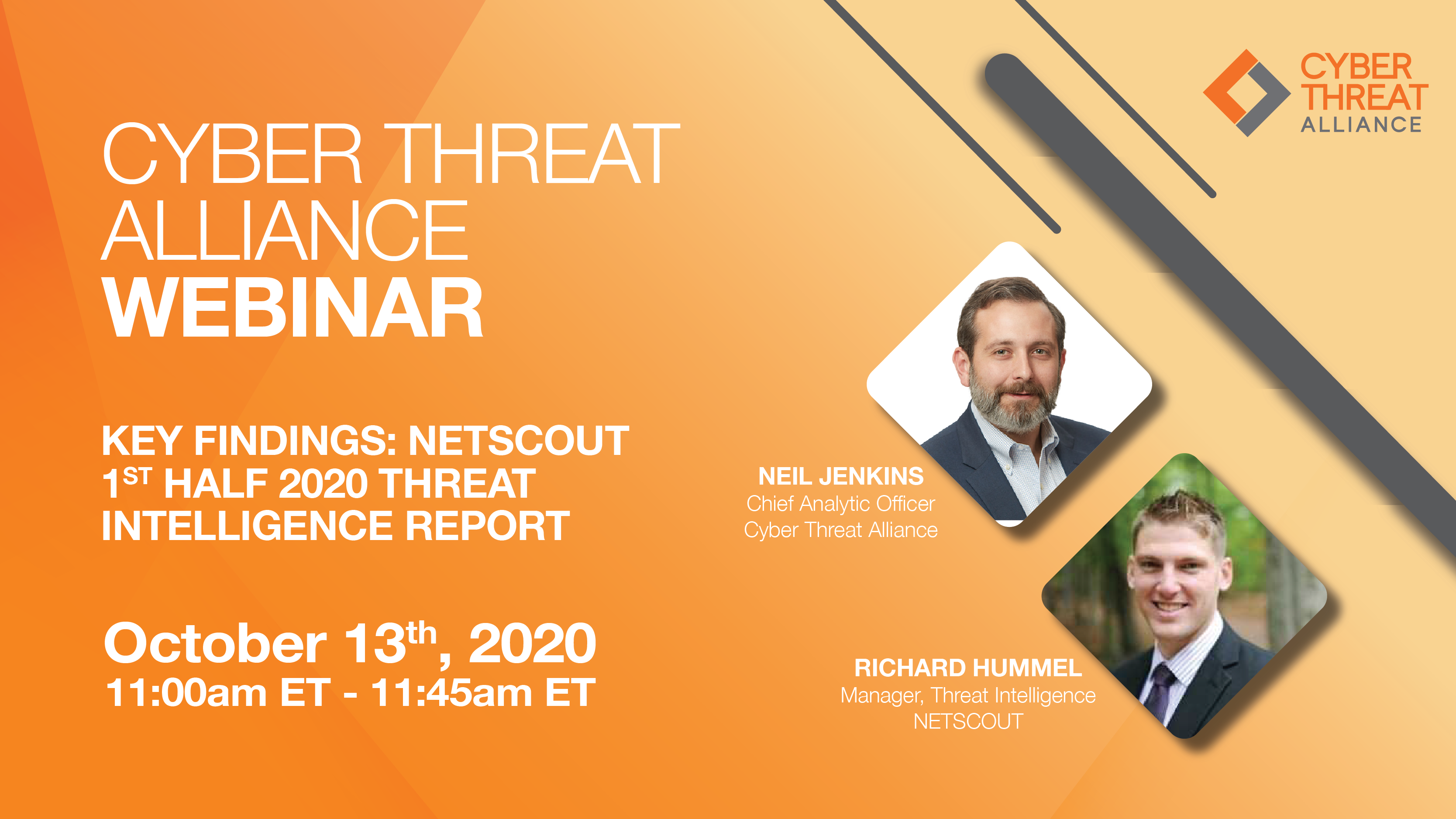 Watch the CTA Webinar, Key Findings: NetScout 1st Half 2020 Threat Intelligence Report on October 13th at 11AM ET.